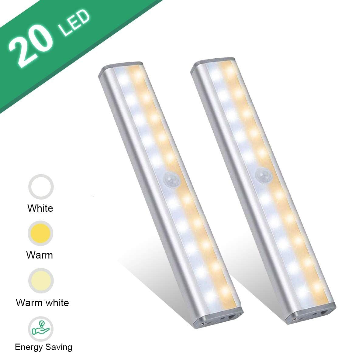 Under Cabinet Lighting Vikano 20 Led Motion Sensor Closet Light Rechargeable 3 Color Mode Wireless Battery Operated Lights Bar For Kitchen Stair Hallway Under C In 2020 Motion Sensor Closet Light Under Counter