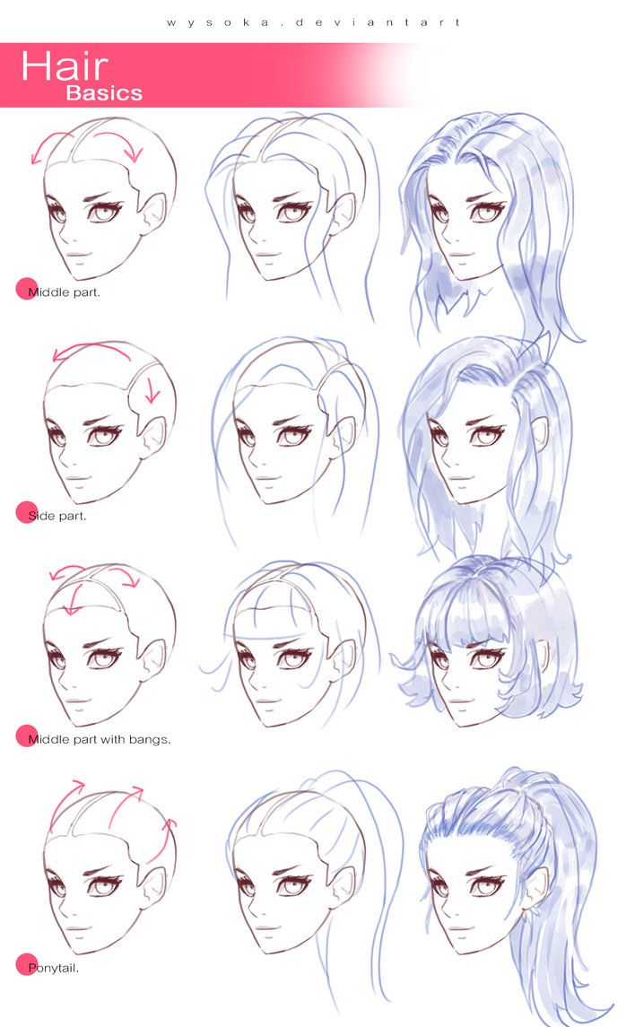 Different hair styles ☆ t u m b l r ☆ p a t r e o n ☆ s h o p ☆ y o u t u b e ☆ new tutorial few things i always take care of when drawing f