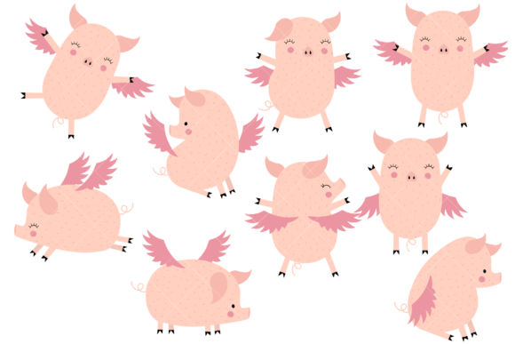 Flying Pigs Graphic By Clipartisan Creative Fabrica In 2020 Flying Pig Images Pig Clipart Flying Pig