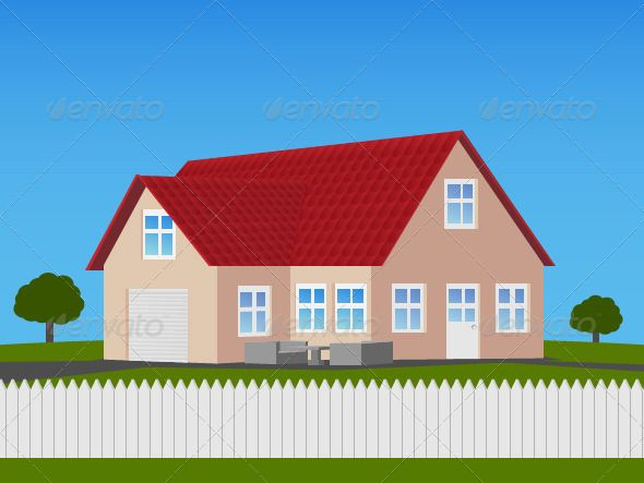 Family House With Garage illustration