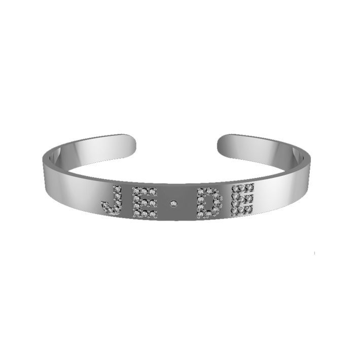 Sterling Silver 6MM Diamond Initial Cuff Bangle Bracelet