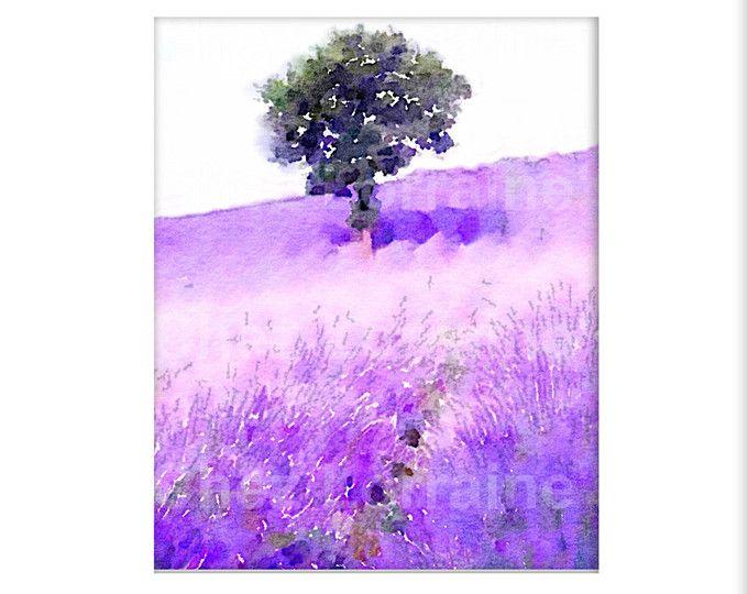 Purple Lavender Watercolor Art Print, Provence France, Lavender Farm ...