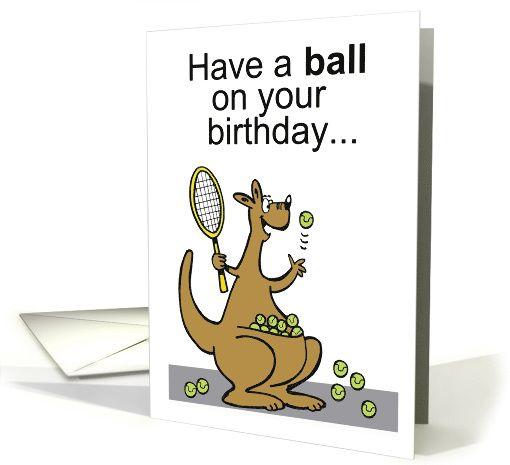 Cartoon Kangaroo Playing Tennis With Racquet And Balls Card Cards Animal Cards Cartoon