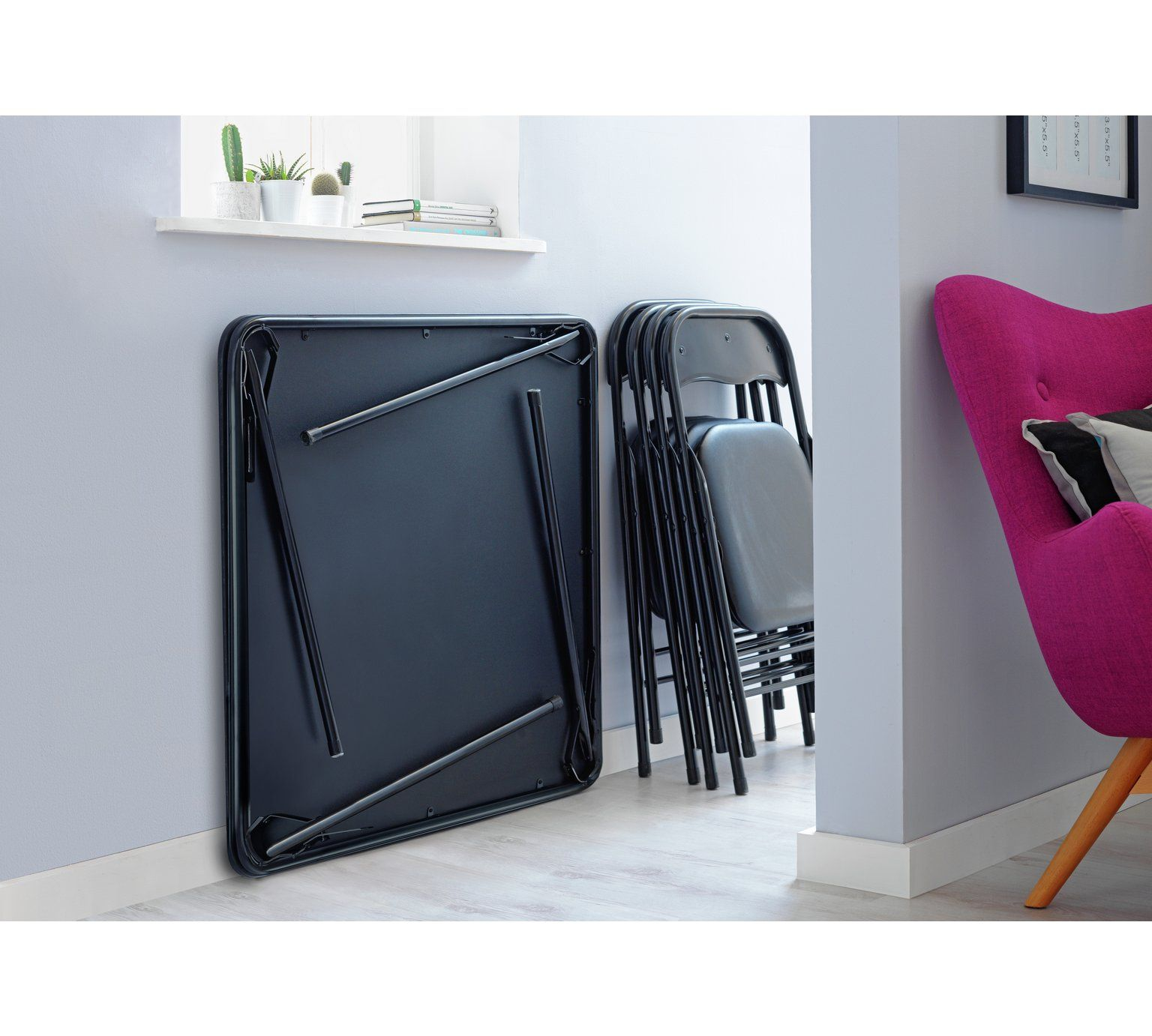 Buy HOME Quin Folding Table & 4 Folding Chairs Black at