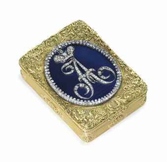 A RUSSIAN JEWELED AND GOLD-MOUNTED ENAMEL IMPERIAL PRESENTATION SNUFF BOX BY KEIBEL, ST. PETERSBURG, EARLY 19TH CENTURY. Rectangular, the hinged cover set with a circular blue guilloché medallion with diamond-set cypher of Alexander I beneath the Imperial crown, within a diamond border, with applied, raised and engraved scrolling foliage, with scalloped thumb piece.