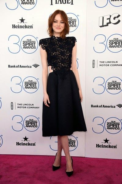 Emma Stone in Monique Lhuillier - Film Independent Spirit Awards 2015