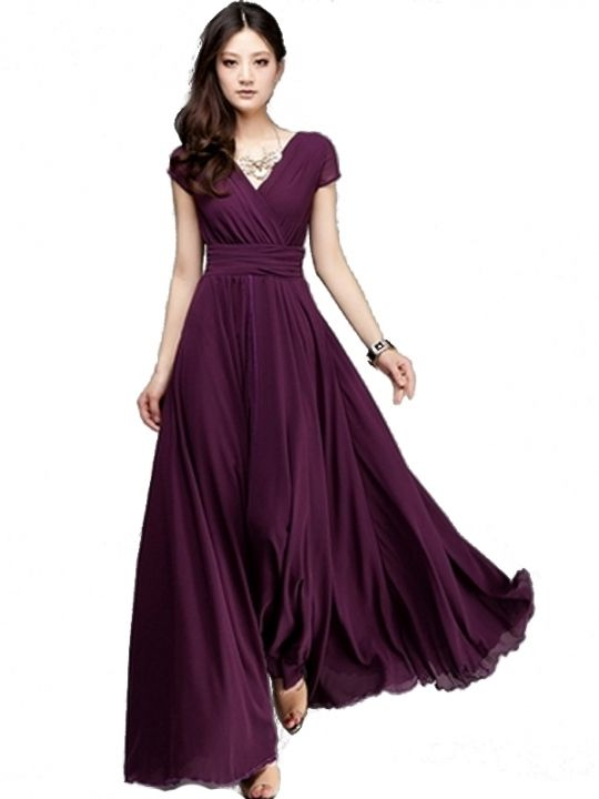 57968678767b5 Classic V-Neck Slim Fit Wide Bottom Short Sleeve Chiffon Dress - comes in  purple, wine red, yellow and pink. Could even have all the bridesmaids in a  ...