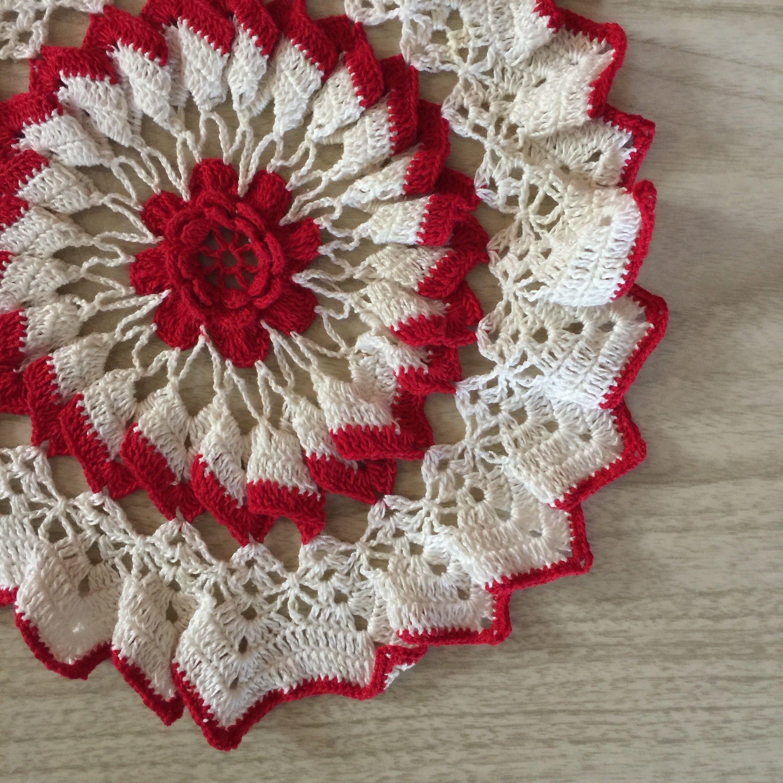 Vintage Crochet Doily Ruffled Bright Red White 12 Vintage Crochet Crochet Doilies Red And White