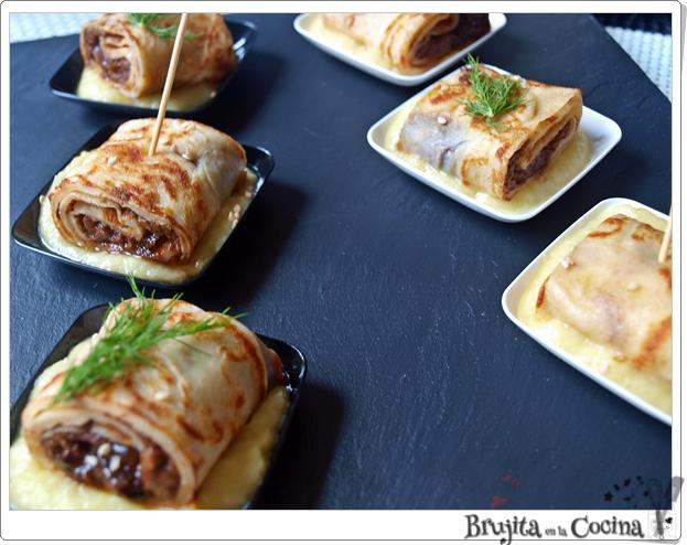Rollitos de crepes de morcilla con boletus caramelizado