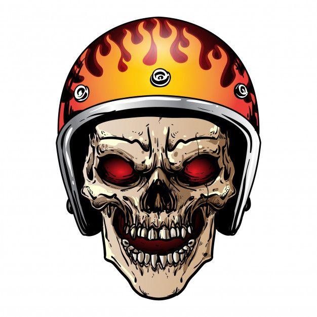 Skull With Vintage Helmet Tengkorak Gambar Desain