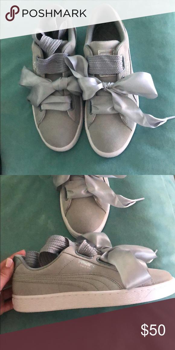 58e03766a44 Grey suede silk bow tie Puma sneakers Women s grey Puma sneaker NEVER BEEN  WORN Puma Shoes