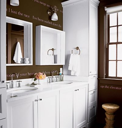 Those Deep Set Mirrors Love And So Smart The Words On The Wall Are Lyrics To Johnny Cash S Song Flushed From T Brown Walls Dark Brown Walls Brown Bathroom