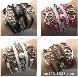 Hot Wholesale Fashion Retro LOVE Heart Multilayer Leather Bracelet, Angel Wings Bracelets & Bangles Jewelry  CCB331