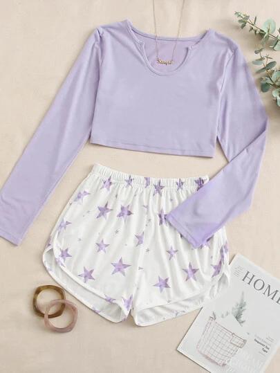 Star Print Shorts PJ Set
