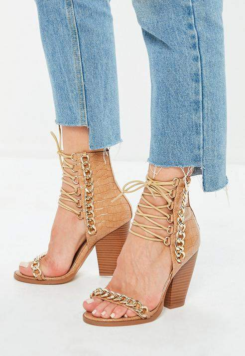 43c7378e620 Missguided Brown Animal Pattern Chain Detail Sandals. Missguided Brown  Animal Pattern Chain Detail Sandals Lace Up Heels ...