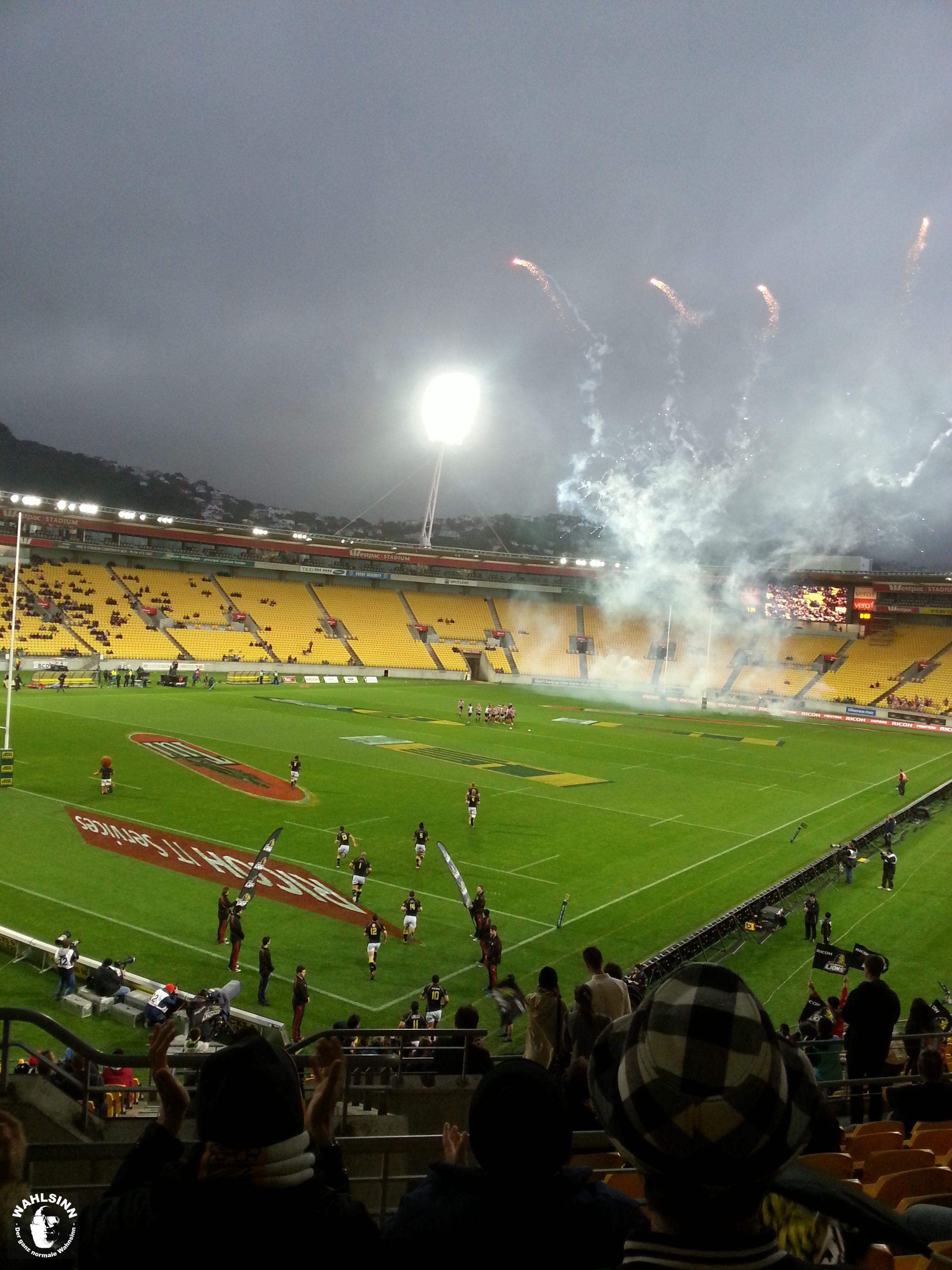 Rugby Spiel in Stadtion von Wellington (Neuseeland)