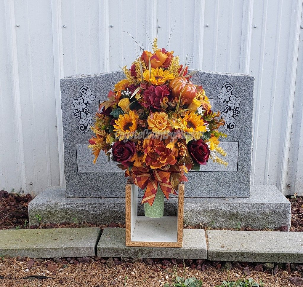Burgundy yellow fall sunflower permanent cemetery vase