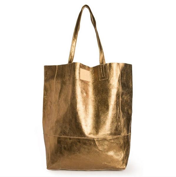 Vintage Gold Leather Bucket Bag
