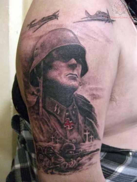 war soldier tattoo design on sleeve. Black Bedroom Furniture Sets. Home Design Ideas