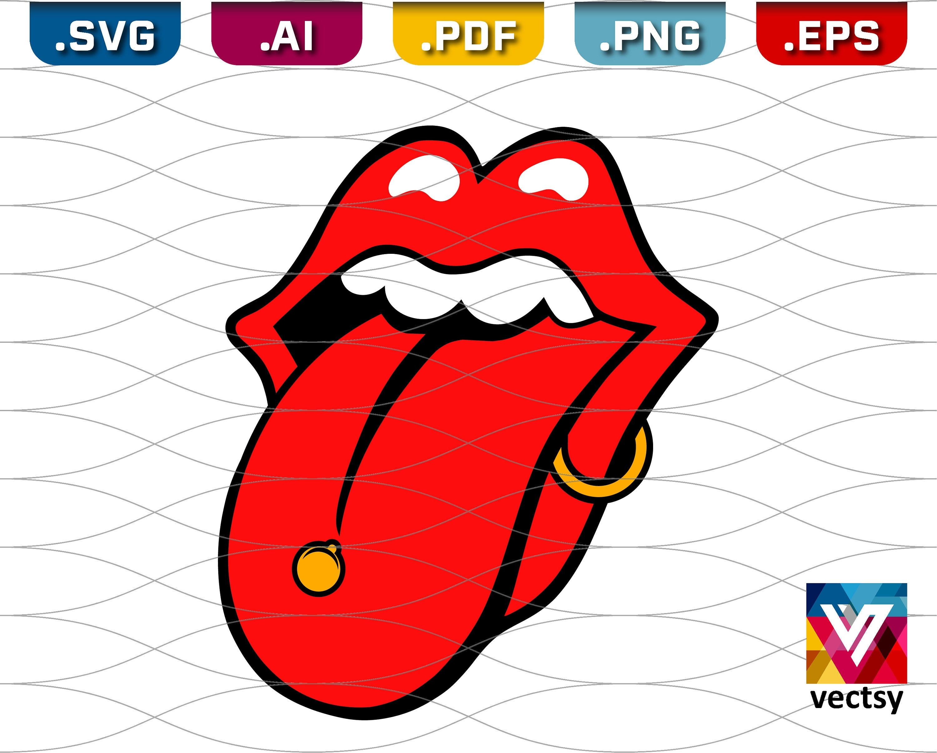 Lips and Tongue SVG Pierced Lip and Tongue Clipart in