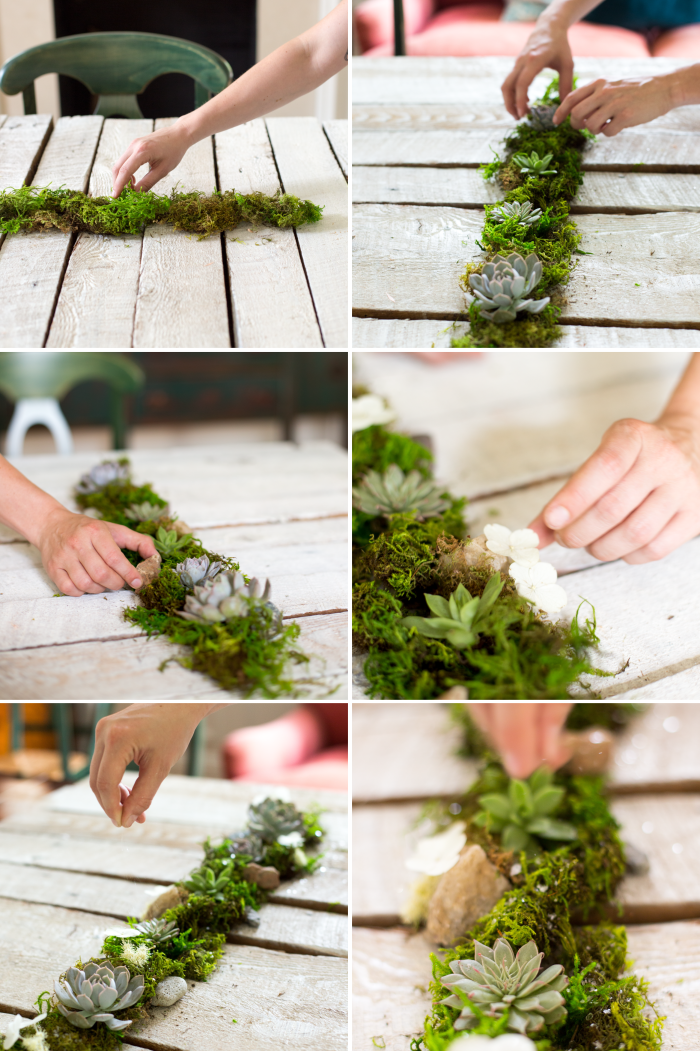 Beau Willow Designed Wedding Centerpiece. Moss Table Runner With Loose Succulents,  Mini Terrariums And Mica Flakes.