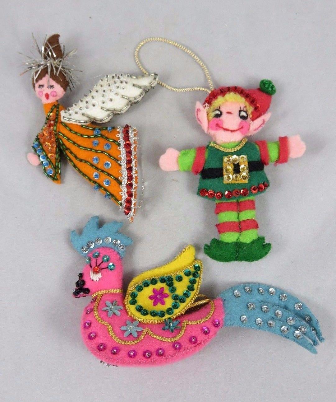 Vintage Christmas Ornaments Handmade With Felt Sequins And Beads Angel Bird Elf Christmas Ornaments Modern Christmas Ornaments Felt Ornaments