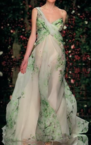 Abed Mahfouz | white | silk/chiffon | asymmetrical neckline | green painterly print | flowy evening gown | high fashion