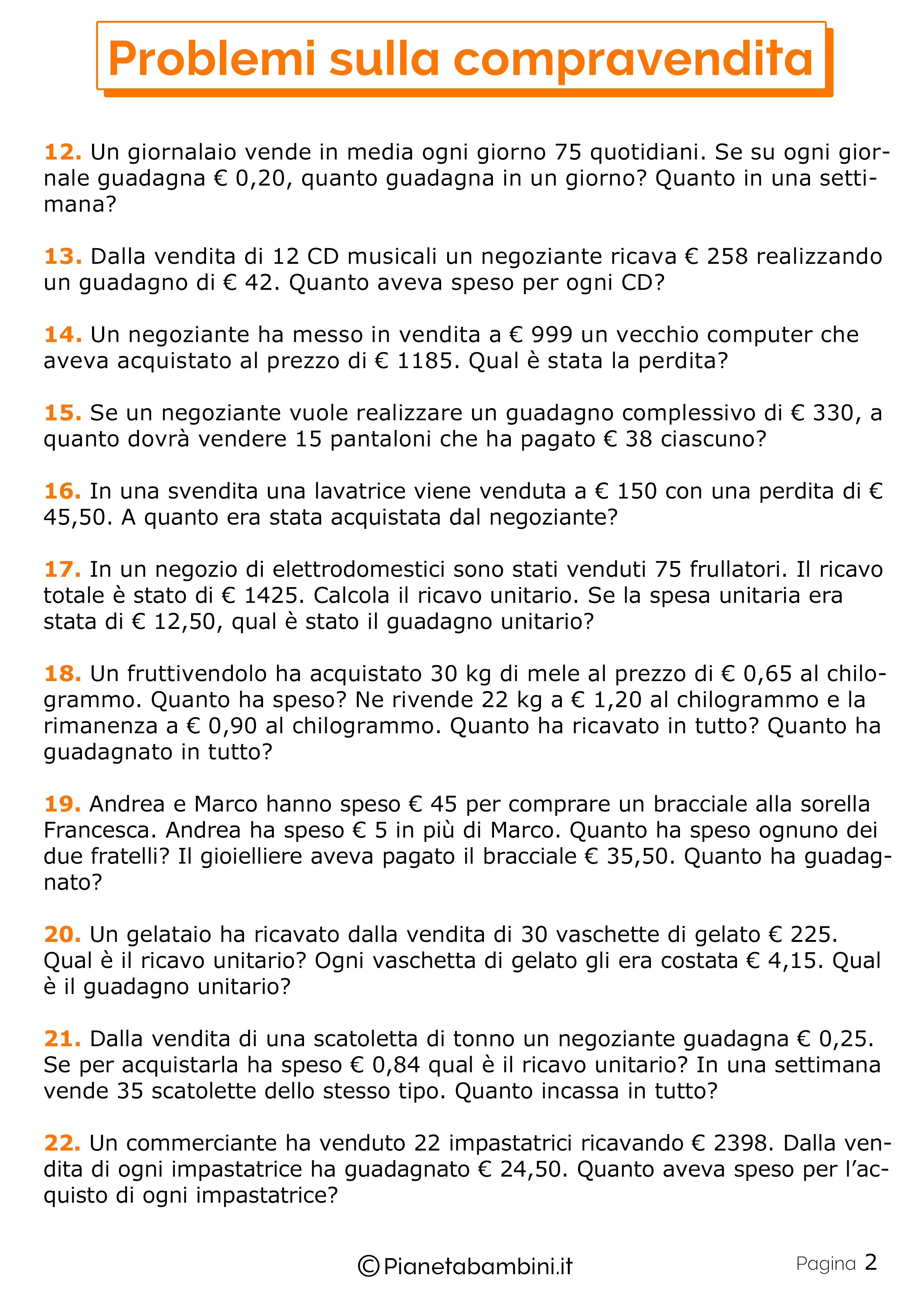 30 Problemi Sulla Compravendita Per La Scuola Primaria