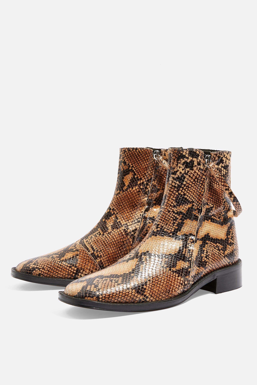7b8aec01b897 AUBREY Snake Print Flat Leather Boots | Outfit Ideas I love | Flat ...