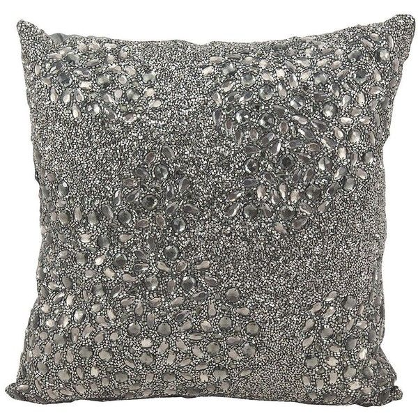 Mina Victory Luminescence Square Beaded Throw Pillow ($90) ❤ liked on Polyvore featuring home, home decor, throw pillows, silver, square throw pillows, beaded accent pillows, patterned throw pillows and beaded throw pillows