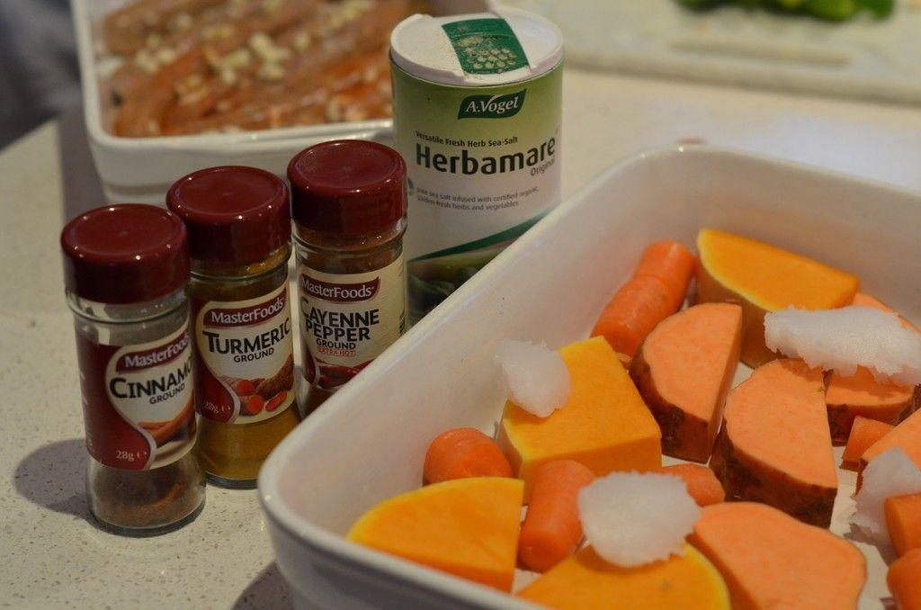 Baked Cinnamon, Turmeric and Paprika Vegetables
