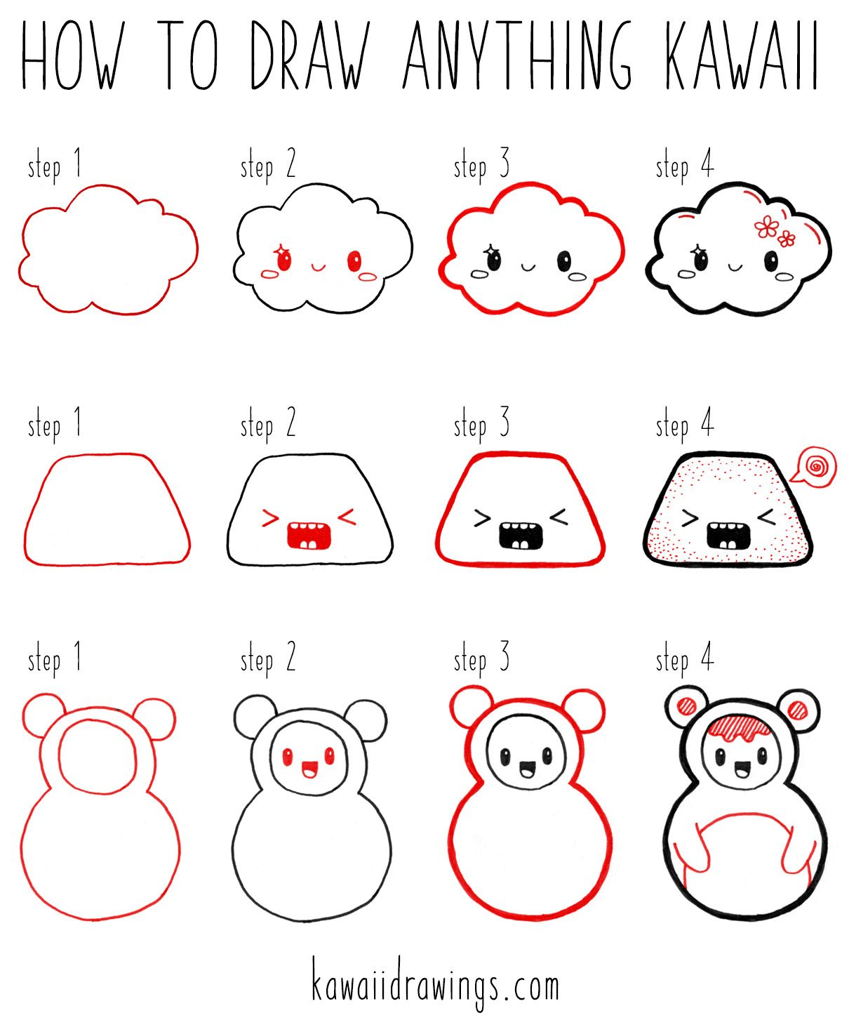Four step formula for designing your own kawaii characters it works every time 1 draw an outline 2 put a face on it 3 thicken the outline