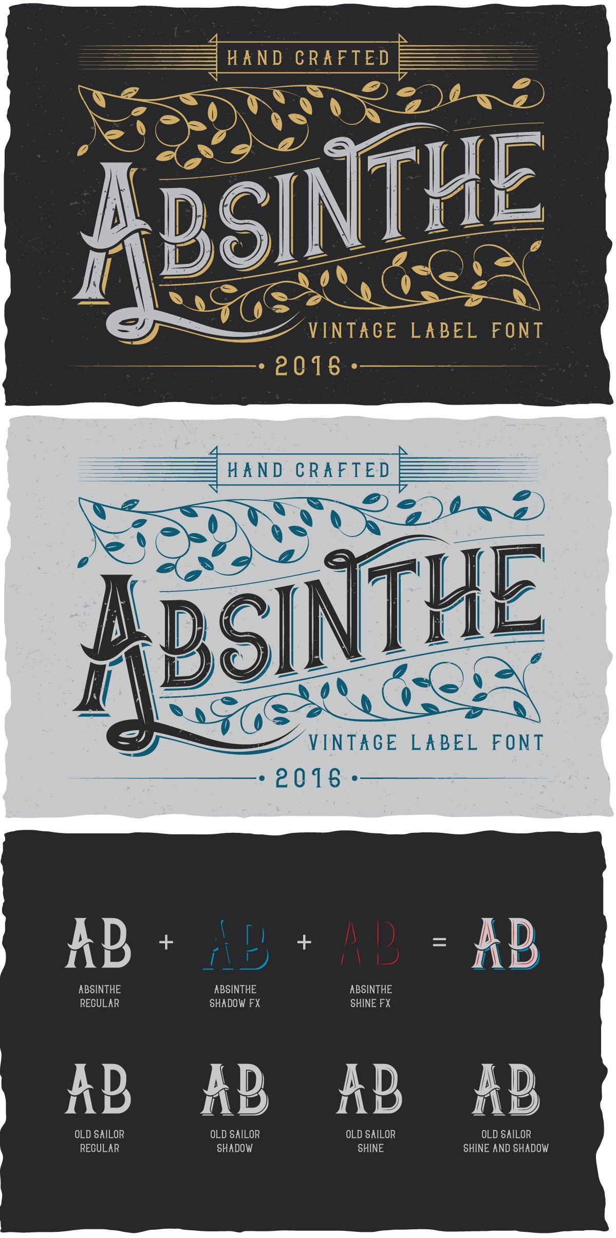 Absinthe is made in strong and dynamic label style #Typeface ...