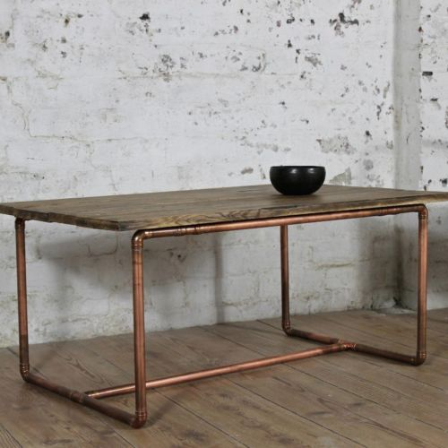 Marble Coffee Table With Copper Legs: Vintage-Solid-Copper-Pipe-Framed-Industrial-Modern