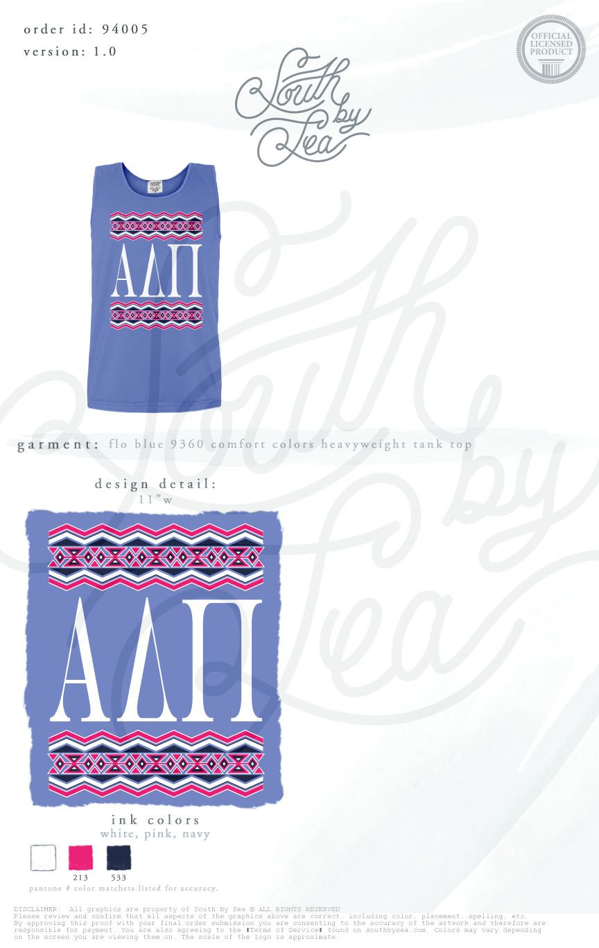 Alpha Delta Pi   ADPi   ADPi Block Letters   Alpha Delta Pi Block Letters   ADPi Tribal Tank   Tribal Tank Design   South by Sea   Sorority Shirts   Sorority Tanks   Greek Shirts