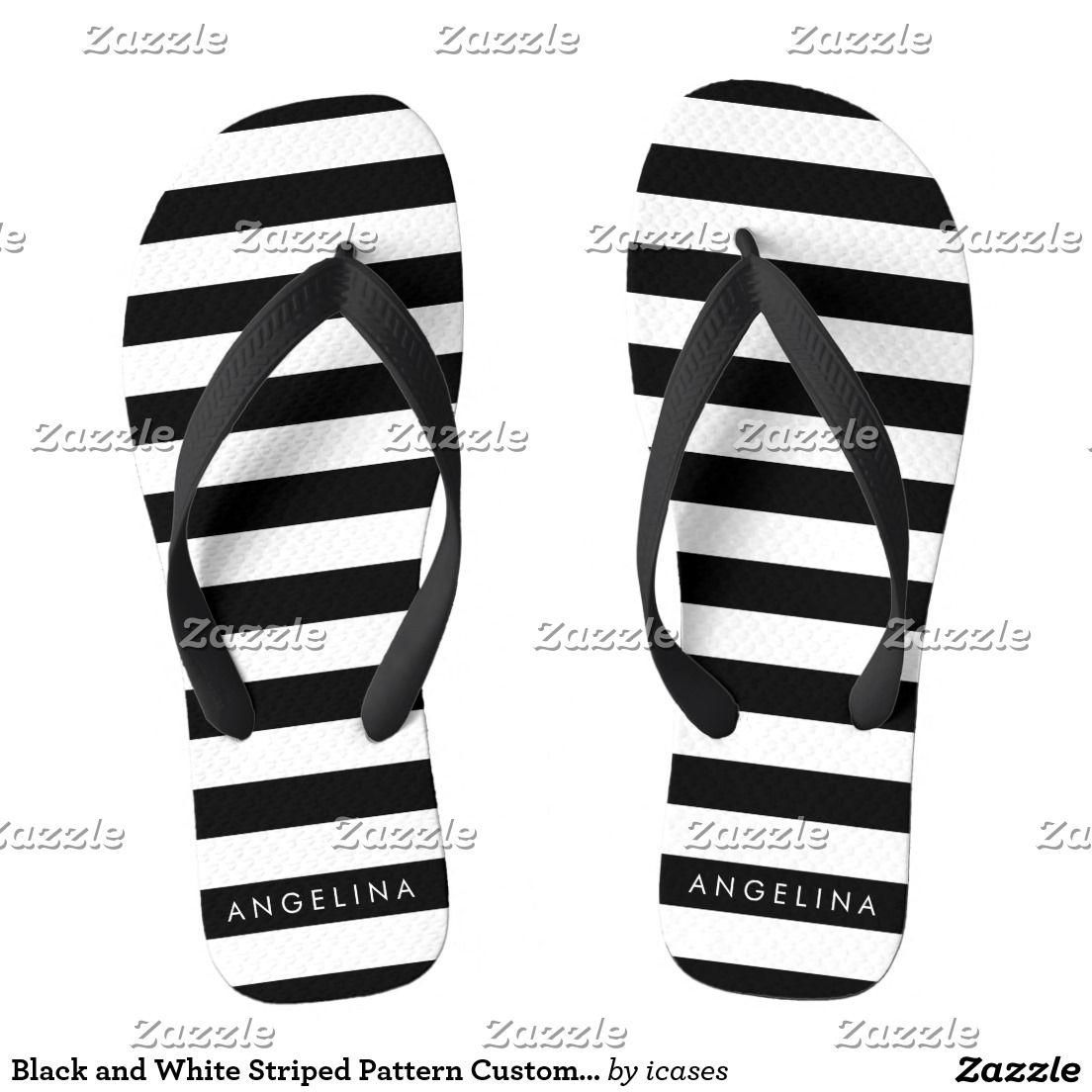 Black and White Striped Pattern Custom Name Flip Flops