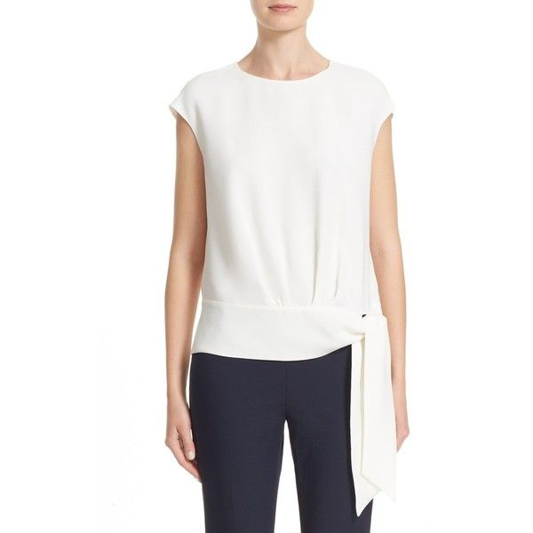 Women's Lafayette 148 New York Seraphina Tie Waist Silk Blouse featuring polyvore, women's fashion, clothing, tops, blouses, cloud, white silk top, long silk blouse, loose blouse, long tops and white tie blouse