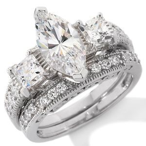 jewellery absolute sterling silver marquise bridal set ring ladies passions - Marquis Wedding Ring