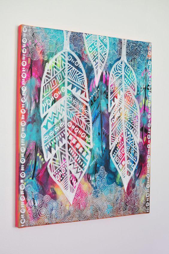 Eva lubart peinture plumes ethniques 2 peintures par for Idee de peinture facile