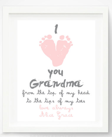 Mothers Day Handprint And Footprint Gifts I Love You Grandma Print By Pitter Patter At Etsy