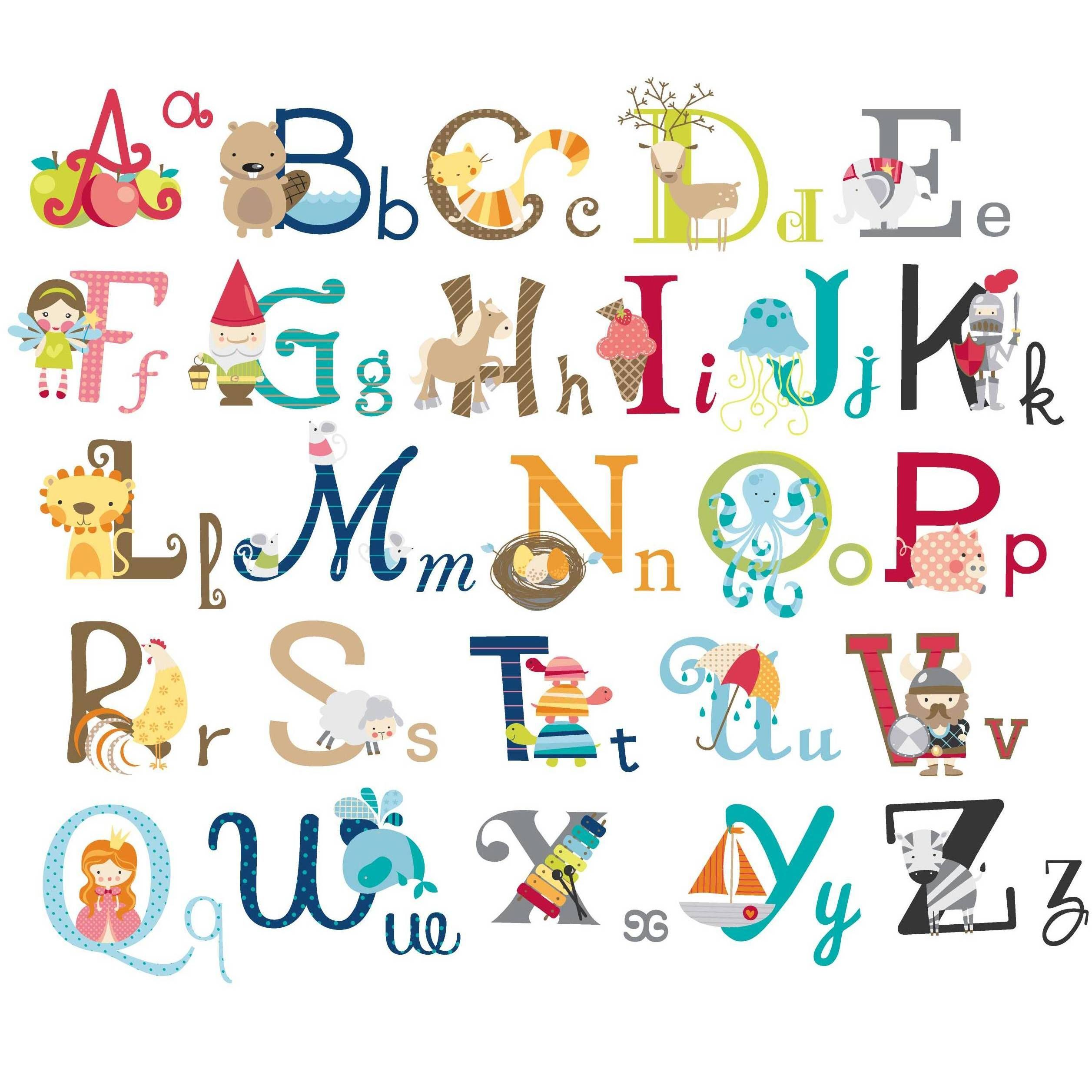 Big graphic alphabet letters peel stick kids room for Large wall letters for nursery