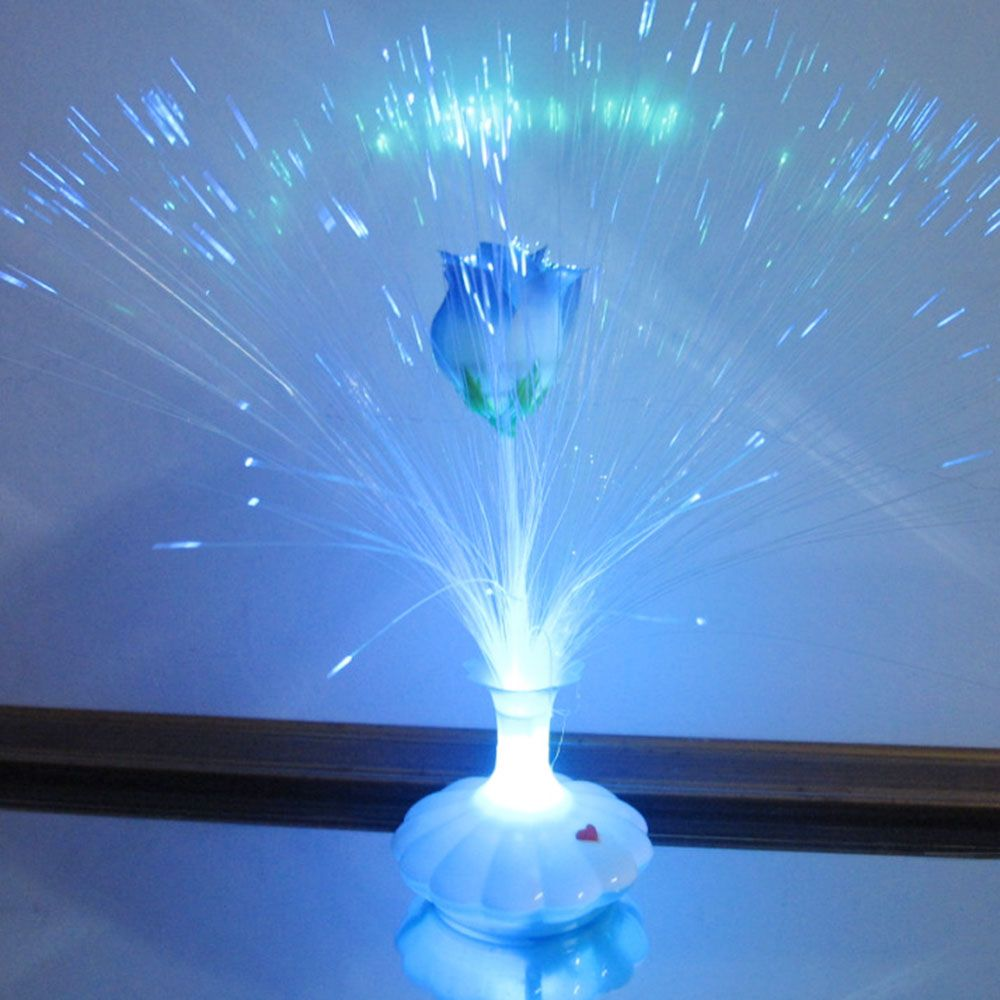 Led Optical Fiber Lamp Flower Rose Vase Blossom Night Light Decoration Colorful Affiliate Commercial Lighting Mood Board Lamp