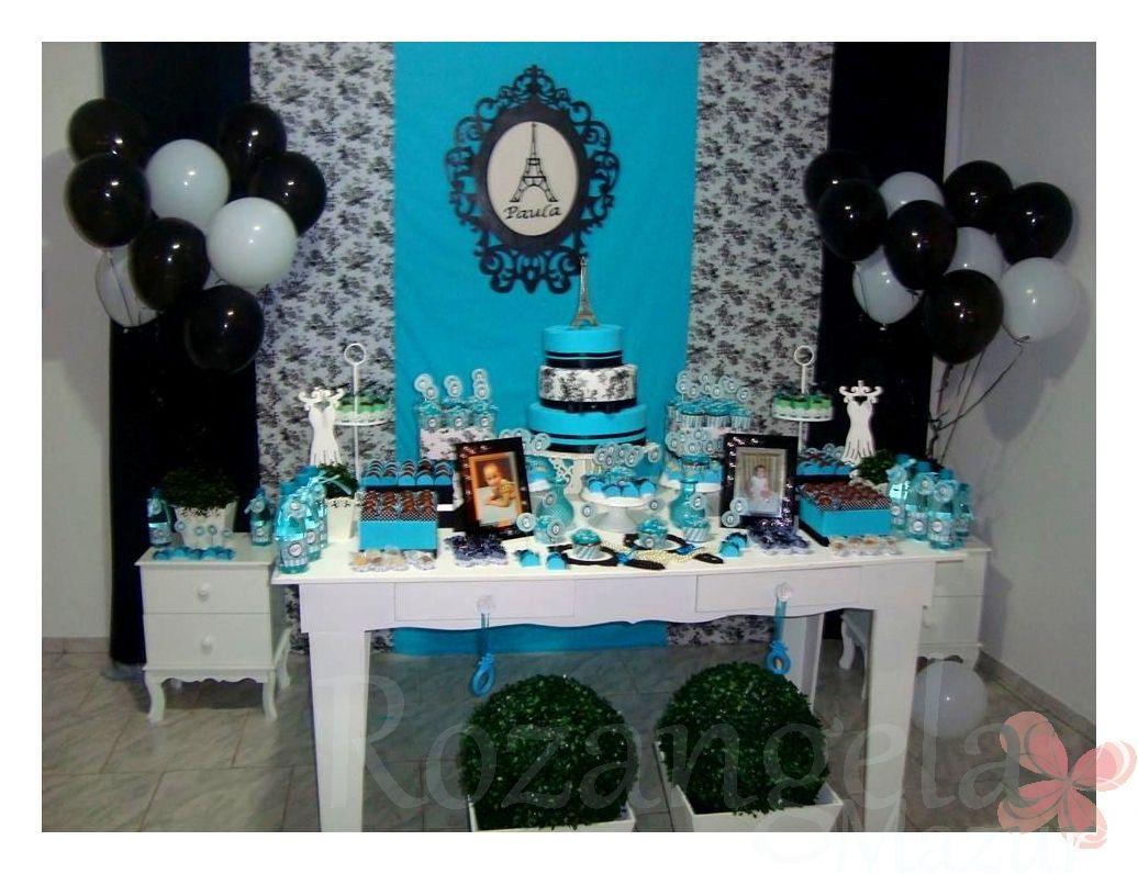 8d590bd08 bolo de debutantes azul turquesa e dourado - Pesquisa Google. Decoração  desenvolvida para festa 15 ...
