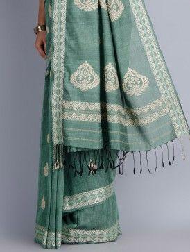 Green Eri Silk-Cotton Handwoven Saree by Heeya