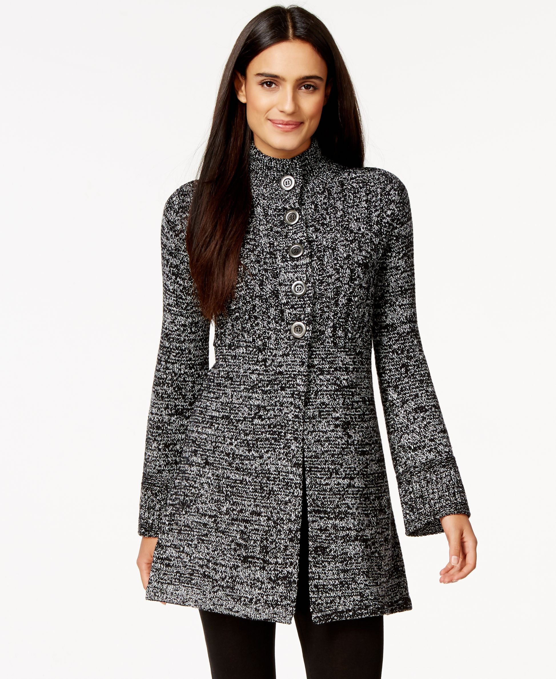 Style & Co. Marled Button-Front Sweater Coat, Only at Macy's