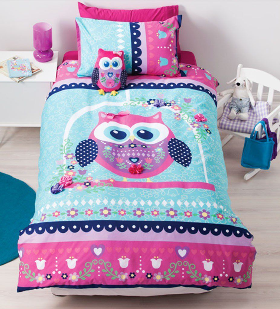 Pretty Owl Quilt Cover Set   Girls, Bed linen and Double bed size : owl double bed quilt cover - Adamdwight.com