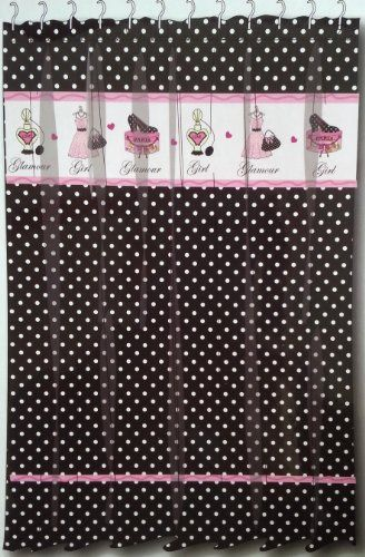 Glamour Girl Black White Polka Dot Fabric Shower Curtain