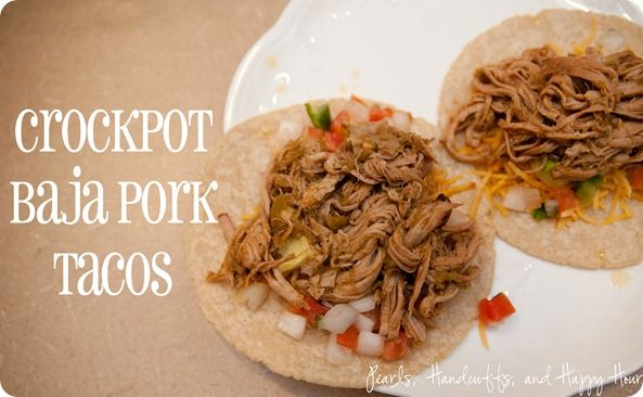Baja Crockpot Tacos. Could this possibly be close to carnitos? Hmmmm. I am going to try it and maybe my hubby will fall down on his knees and thank me for being a whiz in the kitchen as he loves carnitos...when we go to Napa, he hits the taco trucks every day!