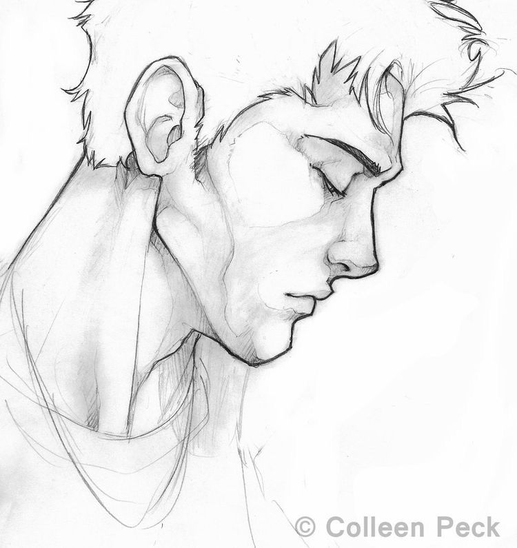 Sketch Of A Man In Profile Profile Drawing Drawing People Drawings