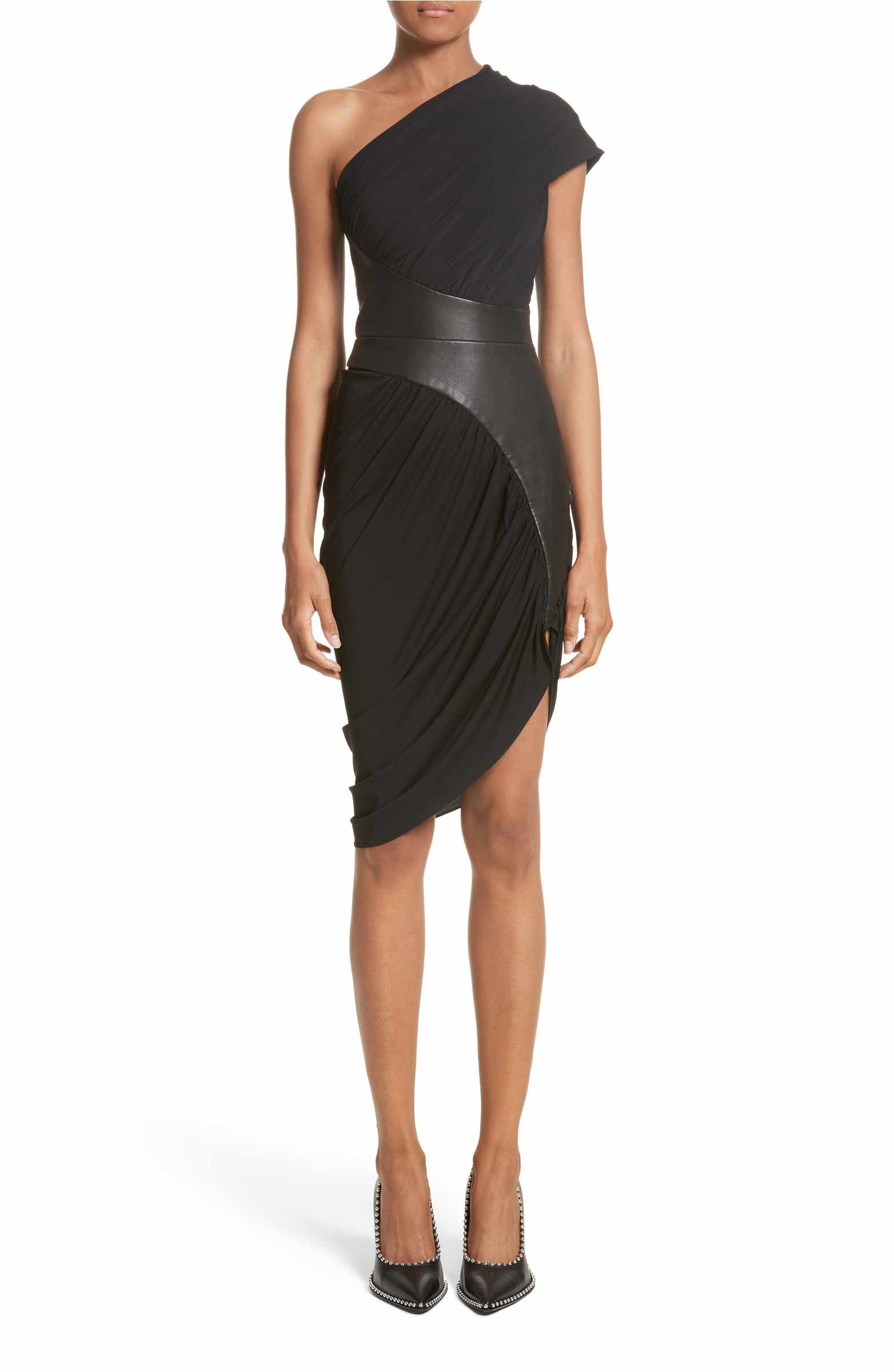 d6e87157c5d2b Main Image - Alexander Wang Leather Detail Draped One-Shoulder Dress  Cocktail Dress Classy Elegant